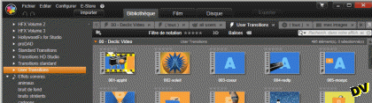 "Declic-Video transitions are visible in the ""User Transitions"" folder"