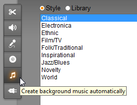 Automatic creation of musical background