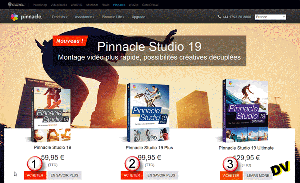La page Studio 19 de Pinnacle