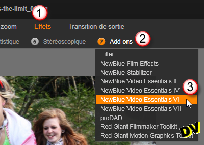 "Select the ""NewBlue Video Essentials VI"" plugin"