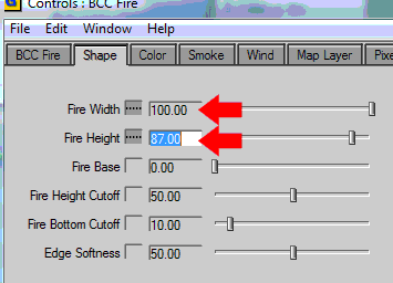 Shape tab parameters