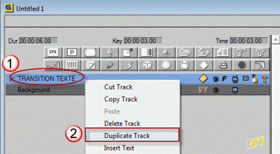 "Duplicating the track ""TRANSITION TEXTE"""