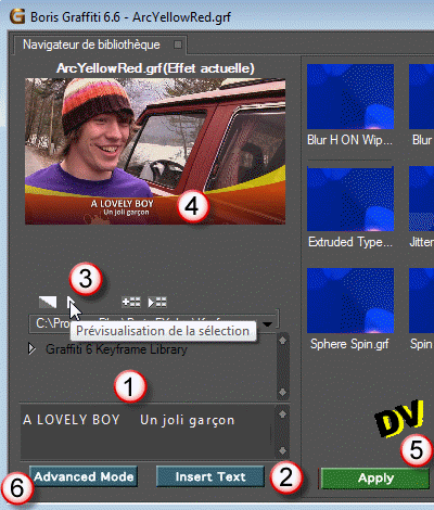 Changing the text in the simplified plugin Boris Graffiti window