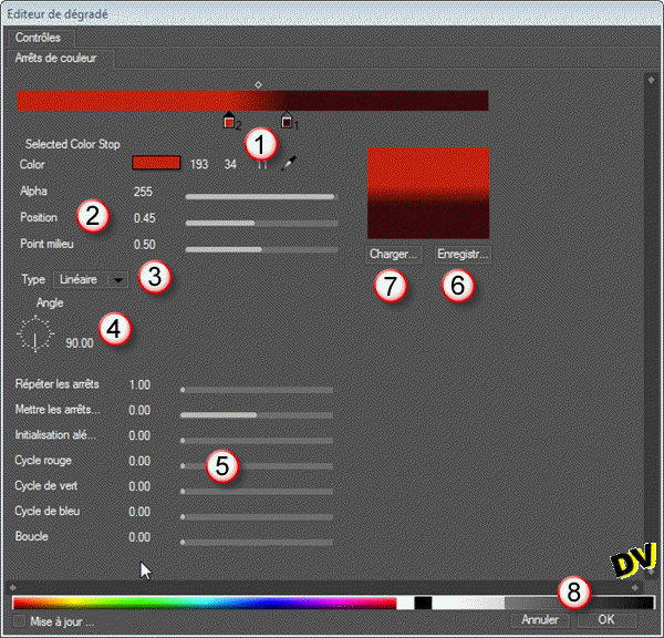 The Gradient Editor allows you to edit all settings of the degraded.
