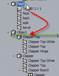 "Object ""Text"" is placed under the control of the object ""Object"""