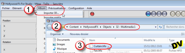 "Importing 3D object ""Curtain.hfo"""