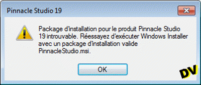 Pinnacle Studio.msi was not found