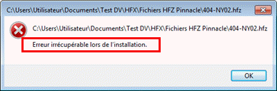 Fatal error during installation