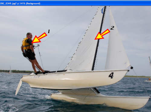 Catamaran image - 2 areas selected