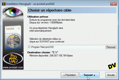 Selecting the installation directory