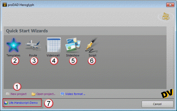 Display the Project Wizard