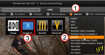 "The effects editor in the ""Add-ons"""