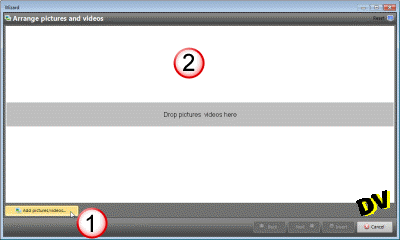 A wide dropzone to select thepictures and videoss to include