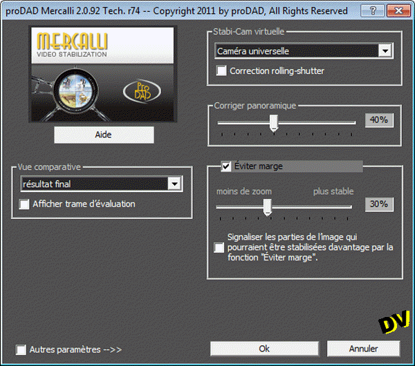L'interface réduite du plugin MercalliV2.0