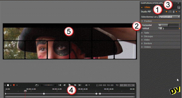"Applying a ""Studio PIP"" effect to the clip"