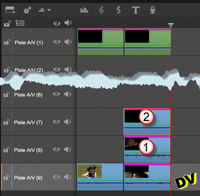 "Applying a ""Studio PIP"" effect clip to the clips on tracks 7 and 8"