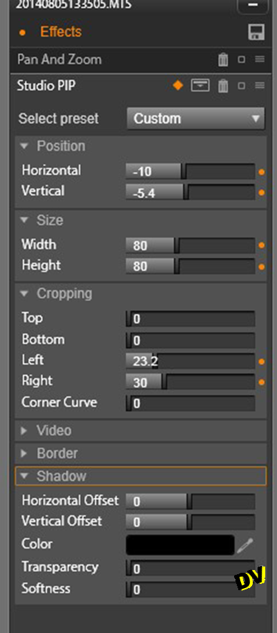 Details of setting the Pan and Zoom effect