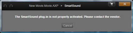 The SmartSound plug-in is not properly activated. Please contact the vendor