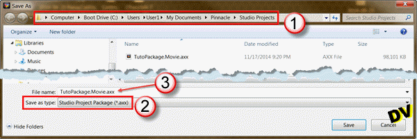 File save window as package to * .axx Format