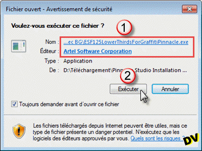 Demande d'autorisation du fichier de type application