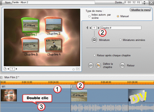 Setting up the menu on the video track and edit this menu