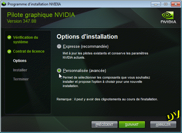 Options d'installation du driver