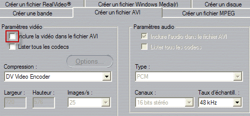 AVI Settings in Studio 9