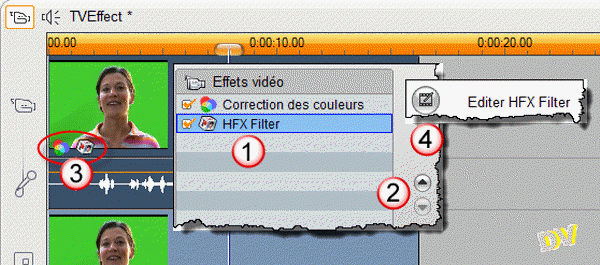 Applying an HFX Filter effect on the  video track