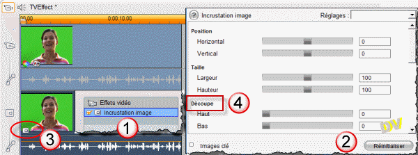 "Inserting a video effect ""Picture in Picture"" on the overlay track"